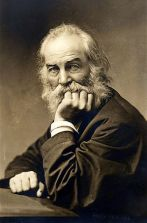 Photo of American poet Walt Whitman. Caption r...