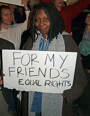 Whoopi Goldberg in New York City protesting th...