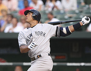 English: A-Rod batting in 2007.