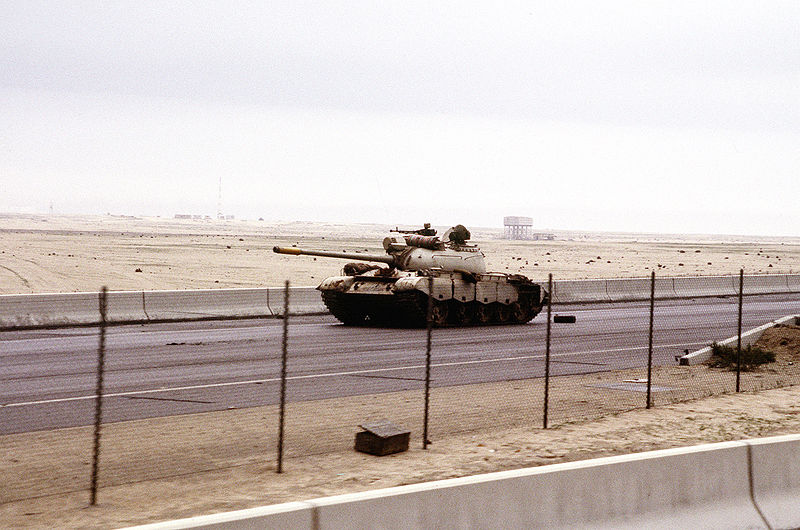 File:An abandoned Iraqi Type 69 tank on the road into Kuwait City during the Gulf War.JPEG