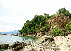 English: Beach near Mersing. One of the little...