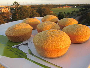 Corn muffins cooling as the sun sets