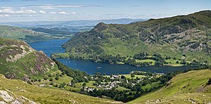 The village of Glenridding and Ullswater in th...