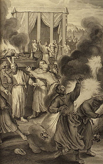 English: Nadab and Abihu consumed by fire from...