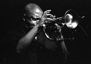 English: Hugh Masekela, a South African trumpe...
