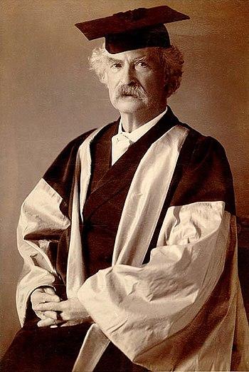 Official portrait of Mark Twain in his DLitt (...