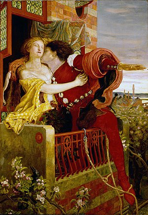 Romeo and Juliet balcony scene on Oil Canvas