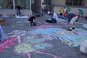 Sidewalk Chalk Flood 2009, another Rob Bliss U...