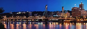 A stitched panorama of the Hawthorne Bridge in...