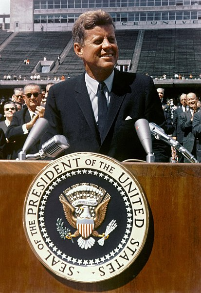 John F. Kennedy at Rice University, Houston, Texas, Sept 12, 1962 - photo from NASA