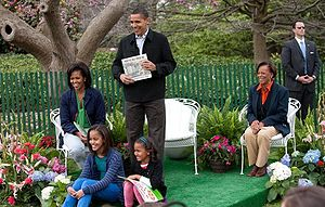 President Barack Obama, joined by First Lady M...