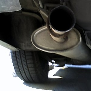 Muffler and tail pipe on a car