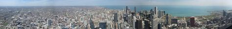 English: Panoramic view of Chicago from the Sk...