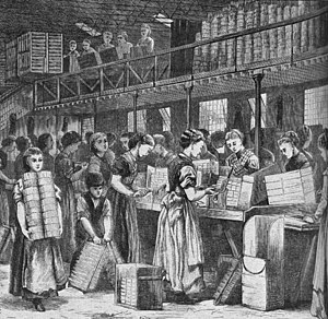 English: Women working in a match factory in L...