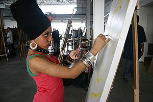 Artists for Humanity. Artist in painting studio