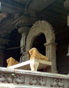 File:A Stone carved throne in the backyard of Simhachalam temple.jpg