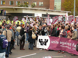 Protest outside BBC Television Centre over Nic...
