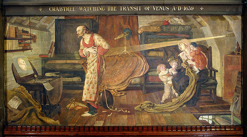 """Crabtree watching the Transit of Venus A.D. 1639"" by Ford Madox Brown, a mural at Manchester Town Hall."