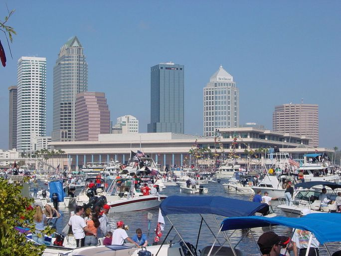 Downtown Tampa and Convention Center During Gasparilla Pirate Fest 2003