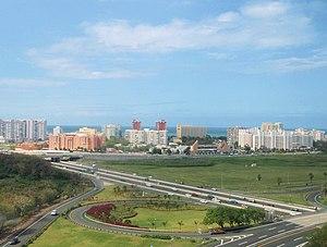 The skyline of Isla Verde in Puerto Rico, as s...