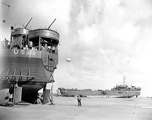 USS LST-325 (left) and USS LST-388 unloading
