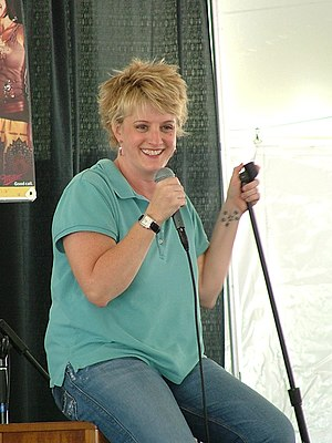 Comedienne Suzanne Westenhoefer on stage.