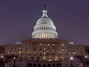 US Capitol at night. A mosaic image of around ...