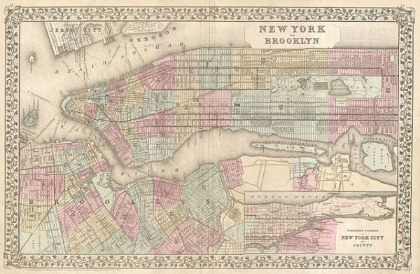 File1882 Mitchell Map of New York City New York