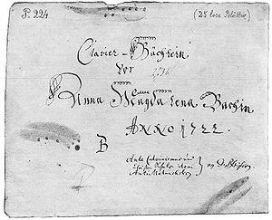 Frontispiece of Bach's Clavier-Büchlein vor An...