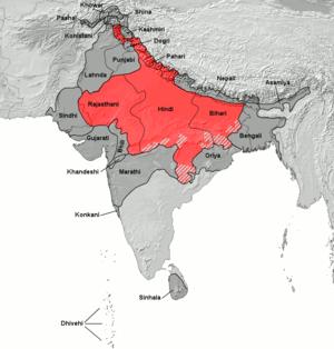 Distribution of Hindi languages.