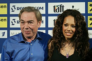 English: Andrew Lloyd Webber and Jade Ewen. Ру...