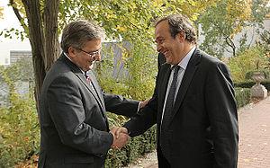 English: Michel Platini and Bronisław Komorowski.