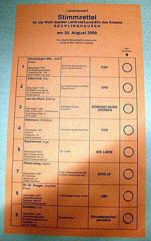 Kommunalwahl in Nordrhein-Westfalen 2009 Beisp...