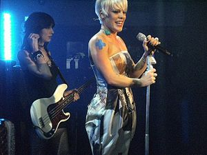 English: P!nk performing at a secret London gi...