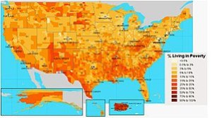 English: US Census map of poverty across US