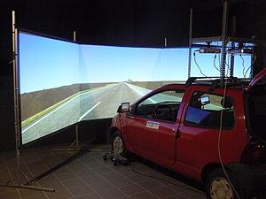 English: Fotograph of the SIMUVEG Driving Simu...