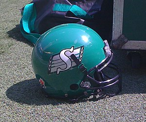 Saskatchewan Roughriders Canadian football helmet