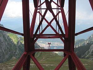Română: Vedere spre Busteni si stalpul pericul...