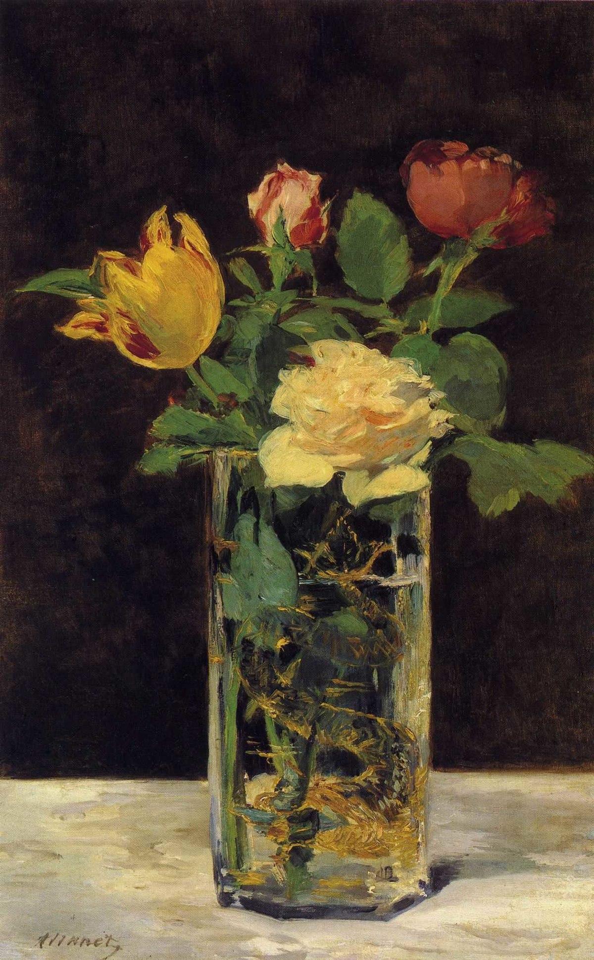 Rosen und Tulpen in einer Vase  Wikipedia