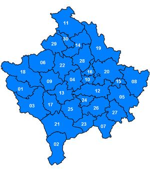 Kosovë 2006, Komunat