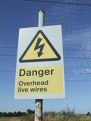 English: Danger sign Danger sign at footpath c...