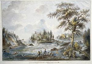 Vy över Älvkarlebyfallen på 1790-talet. Akvare...