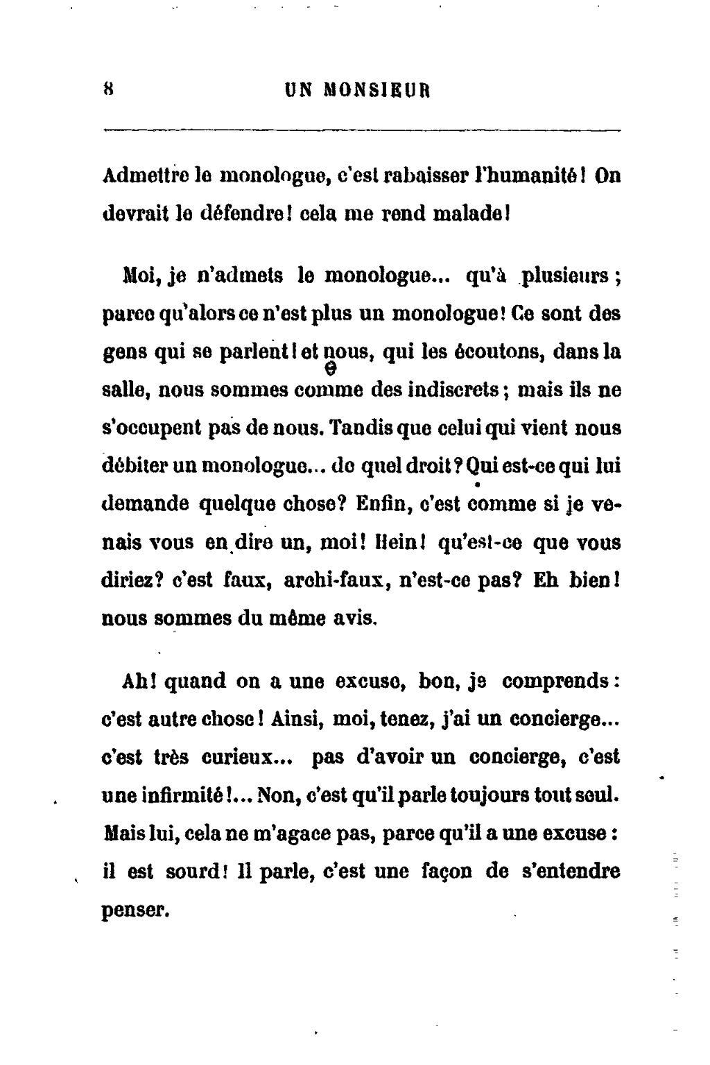 Qu Est Ce Qu Un Monologue : monologue, Page:Feydeau, Monsieur, N'aime, Monologues.djvu/8, Wikisource