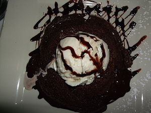 Flourless chocolate cake with vanilla ice cream