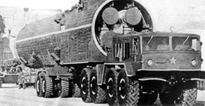 A right front view of a vehicle-mounted Soviet...