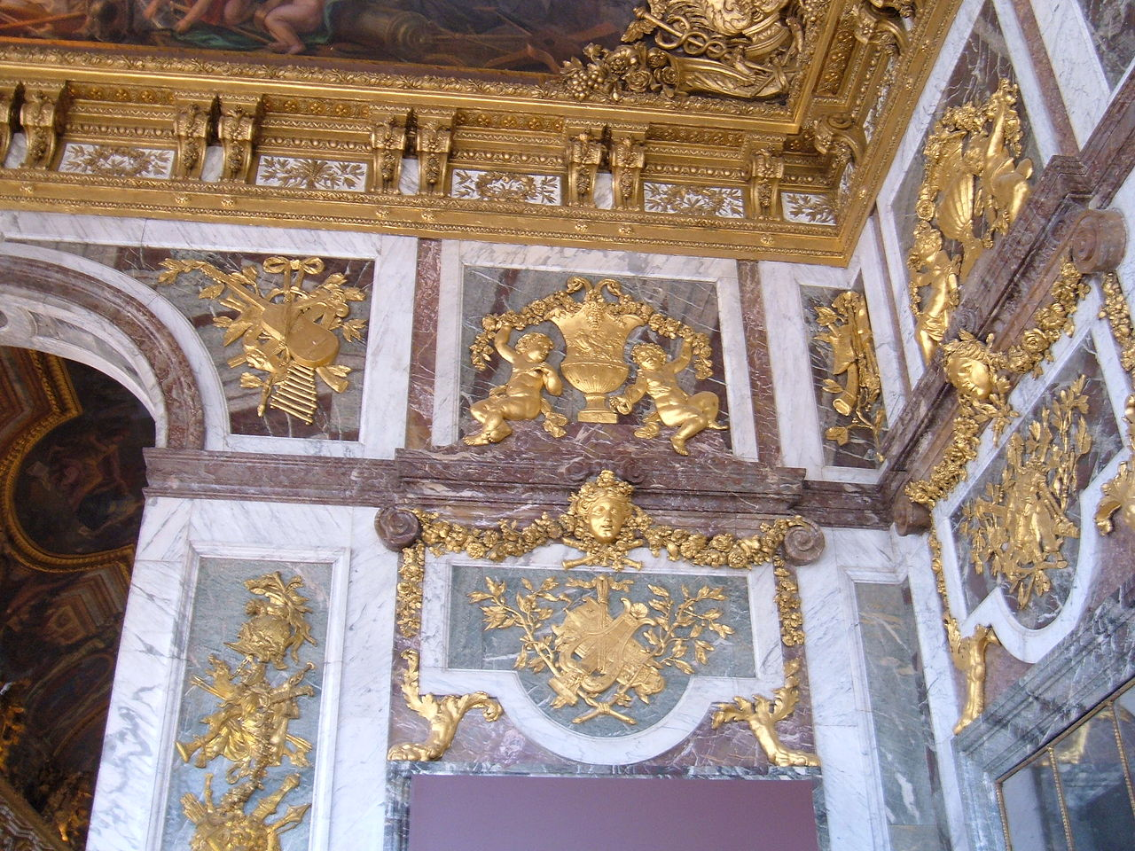 FileHall of Mirrors Palace of Versailles wall cornerJPG
