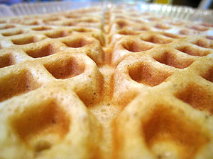 English: Closeup of a homemade waffle.
