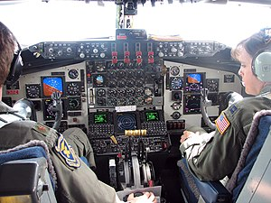 Flight deck of KC-135R; instrument panel has b...