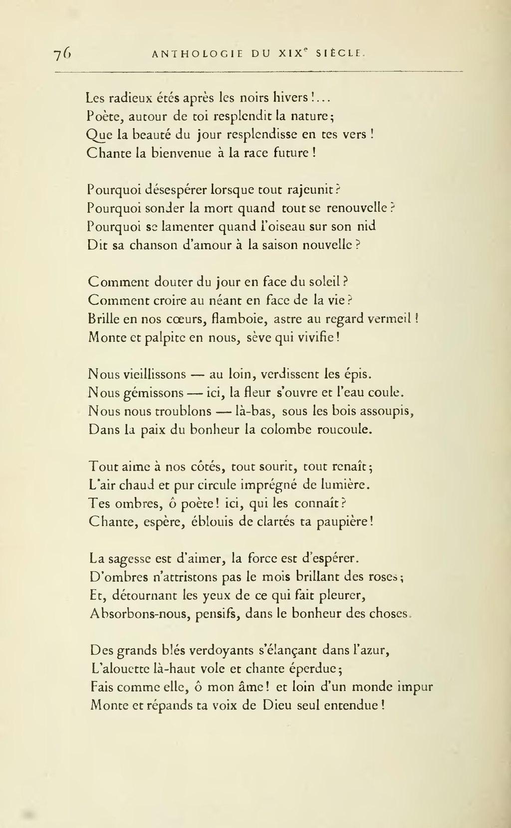 Poème D'amour Du 19ème Siècle : poème, d'amour, 19ème, siècle, Page:Lemerre, Anthologie, Poètes, Français, XIXème, Siècle,, 1887.djvu/86, Wikisource