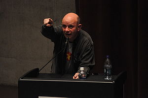 English: Nick Hornby giving a public reading a...